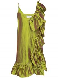 Marques'Almeida ruffled metallic silk dress ~ chartreuse dresses
