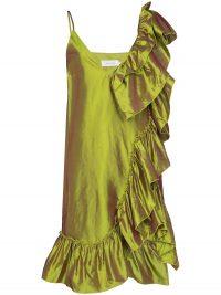 Marques'Almeida ruffled metallic silk dress ~ chartreuse dresses