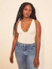 Reformation Maui Top | white sleeveless deep V-neck tops