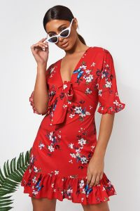 The Fashion Bible MIA RED FLORAL FRILL MINI DRESS | frill trimmed bow-front dresses