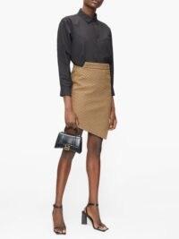 BALENCIAGA Mid-rise asymmetric houndstooth skirt ~ chic angled hem skirts