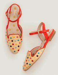 Boden Miriam Raffia Flats – Multi Spot/ Post Box Red / happy and bright flats