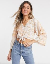 Miss Selfridge kimono blouse in ivory floral | cropped wide sleeve blouses