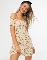Miss Selfridge shirred mini dress in pink / smocked bardot dresses