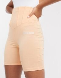 Missguided corset waist co-ord in orange / fitted legging short / bodycon fit shorts
