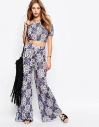 70s clothes – Missguided 70s Retro Mosiac Wide Leg Jersey Trouser