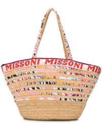 Missoni Mare logo trim tote bag / natural cane summer bags / beach accessory
