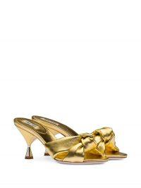 gold-leather mules ~ Miu Miu knot detail sandals