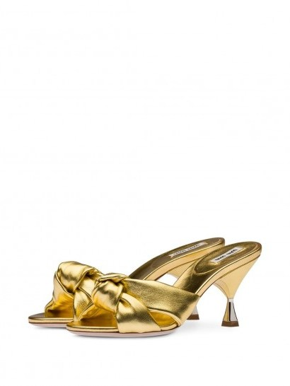 gold-leather mules ~ Miu Miu knot detail sandals - flipped