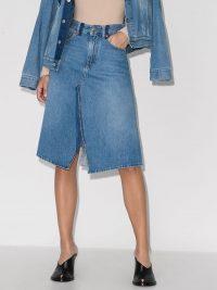 MM6 Maison Margiela A-line denim front slit midi skirt