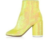 MM6 MAISON MARTIN MARGIELA Blazing Yellow Sequins and Suede Boots | sequinned chunky heel ankle boot