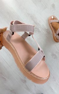 ikrush Monikh Strappy Velcro Sandals in Pink – summer flats