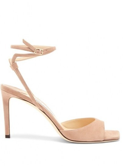 JIMMY CHOO Mori wraparound-strap suede sandals / strappy petal-pink sandal - flipped
