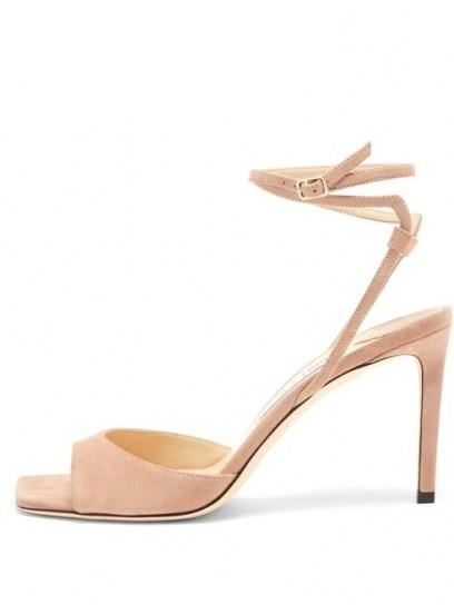 JIMMY CHOO Mori wraparound-strap suede sandals / strappy petal-pink sandal