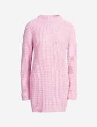 MOSCHINO Waffle-knit cashmere and virgin wool-blend jumper / pink longline jumpers