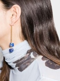 Märta Larsson 18kt gold vermeil lapis lazuli drop earrings ~ chain and blue stone drops