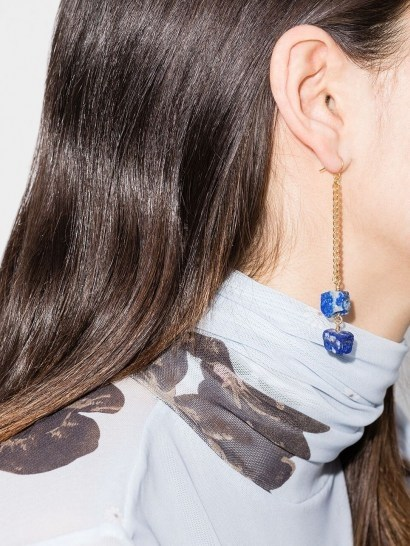 Märta Larsson 18kt gold vermeil lapis lazuli drop earrings ~ chain and blue stone drops - flipped