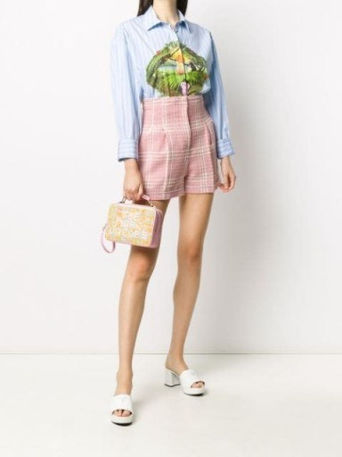 MSGM check-pattern high-waisted shorts / pink and white vintage look short - flipped