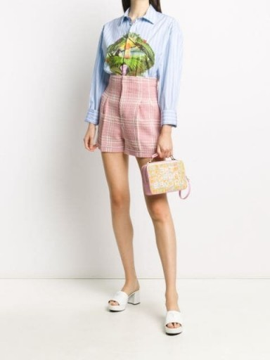 MSGM check-pattern high-waisted shorts / pink and white vintage look short