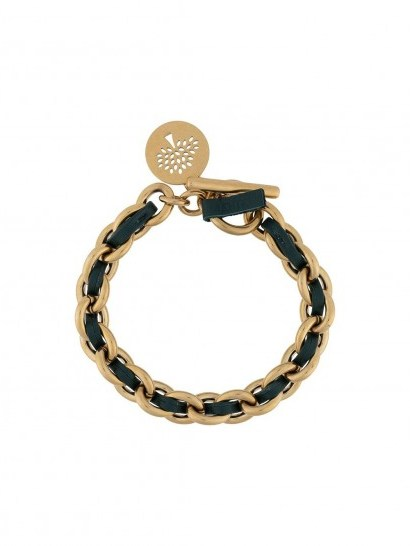 Mulberry logo tag chain bracelet / leather and brass woven bracelets - flipped