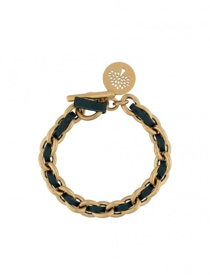 Mulberry logo tag chain bracelet / leather and brass woven bracelets