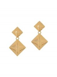 Mulberry Pyramid pendant earrings / brass drops