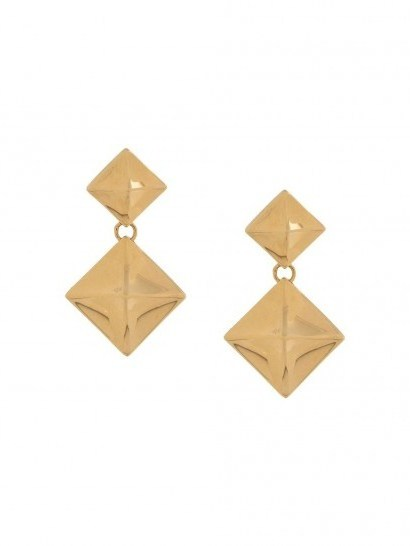 Mulberry Pyramid pendant earrings / brass drops - flipped