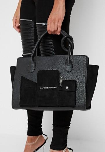 Manière De Voir MULTI POCKET CITY BAG BLACK | tote bags
