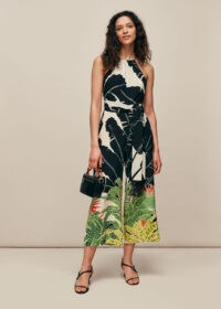 WHISTLES JUNGLE LEAVES SILK JUMPSUIT ~ summer evening clothing