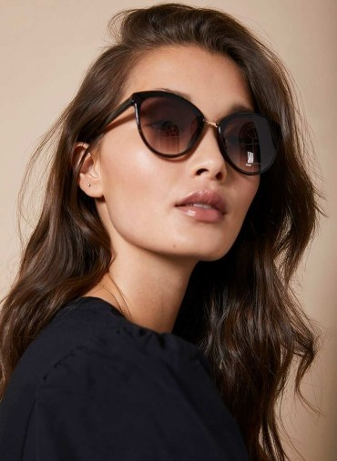 Mint Velvet Mykonos Cat Eye Sunglasses | dark tortoiseshell frames - flipped