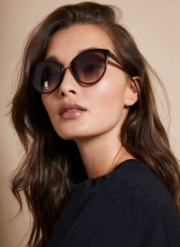 Mint Velvet Mykonos Cat Eye Sunglasses | dark tortoiseshell frames