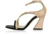 N°21 Black & Peach Satin Mid-Heel Sandals | strappy flared heels