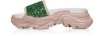 N°21 Rubber & Green Glitters Slides | glittering chunky slider