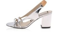 N°21 Silver Laminated Mid-Heel Sandals | metallic chunky heeled slingbacks