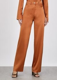 NANUSHKA Drew rust straight-leg satin trousers – tailored pants