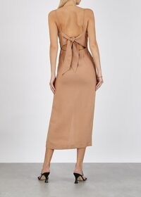 NANUSHKA Paz brown woven midi dress – back tie dresses