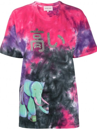 Natasha Zinko graphic print tie-dye T-shirt / multicoloured short sleeve tee