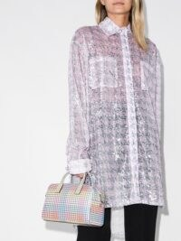 Natasha Zinko sequinned houndstooth-print shirt – luxe hi-low hem shirts
