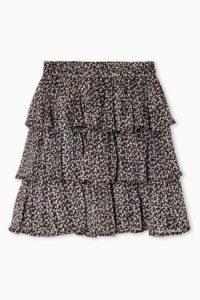 Topshop Navy Floral Print Metallic Thread Rara Skirt | tiered skirts