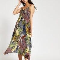 River Island Navy leaf slip midi beach dress | cami strap dresses | beachwear