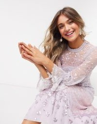 Needle & Thread embellished midaxi dress with fluted sleeve in lilac / long sequinned occasion dresses