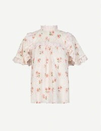 NEEDLE AND THREAD Desert Rose floral-embroidered cotton-blend top in topaz pink ~ ruffle trim high neck blouse