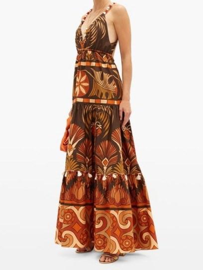 JOHANNA ORTIZ Neptunian geometric-print cotton-poplin maxi dress / tasseled detail dresses - flipped