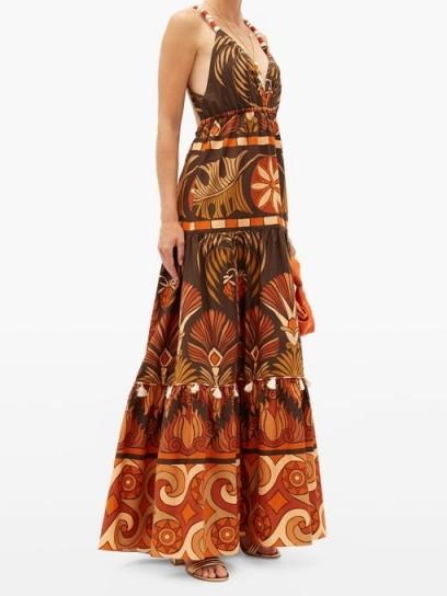 JOHANNA ORTIZ Neptunian geometric-print cotton-poplin maxi dress / tasseled detail dresses
