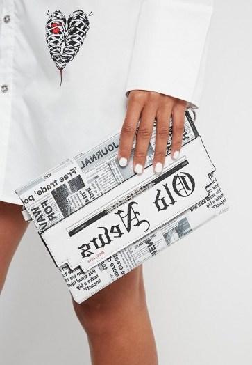 Manière De Voir NEWSPAPER PRINT CLUTCH WHITE | printed evening bags - flipped