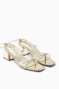 TOPSHOP NIKITA Gold Strap Sandals / strappy metallic block heel sandal