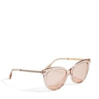 JIMMY CHOO AXELLE Nude Acetate and Copper Gold Metal Cat Eye Sunglasses with Mirror Lenses | chic vintage look eyewear