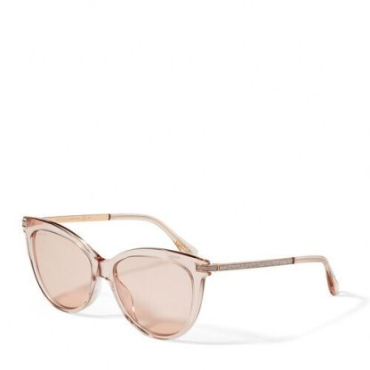 JIMMY CHOO AXELLE Nude Acetate and Copper Gold Metal Cat Eye Sunglasses with Mirror Lenses | chic vintage look eyewear - flipped