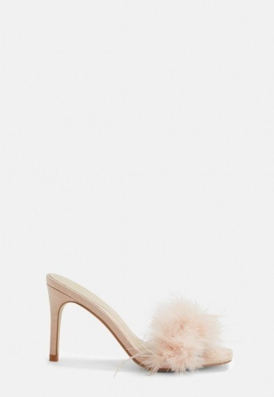 Missguided nude feather faux suede mules ~ glamorous fluffy mule - flipped