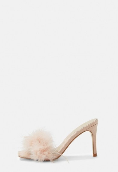 Missguided nude feather faux suede mules ~ glamorous fluffy mule